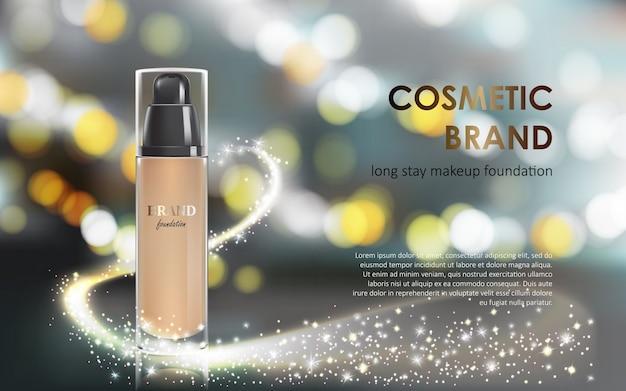 Colorstay make-up in elegante verpakking grijze achtergrond met een bokeh effect en een stroom van sprankelende stof Gratis Vector