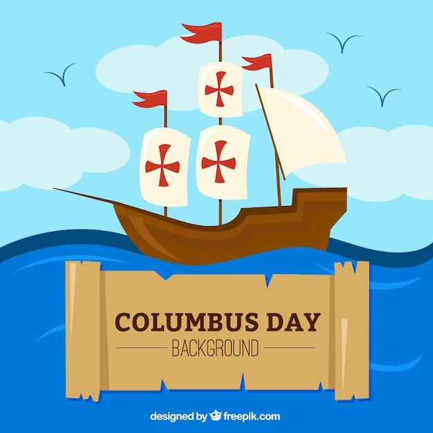Columbus dag achtergrond van de caravel Gratis Vector