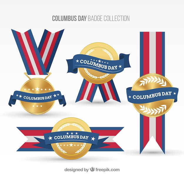 Columbus dag decoratief medailles Gratis Vector