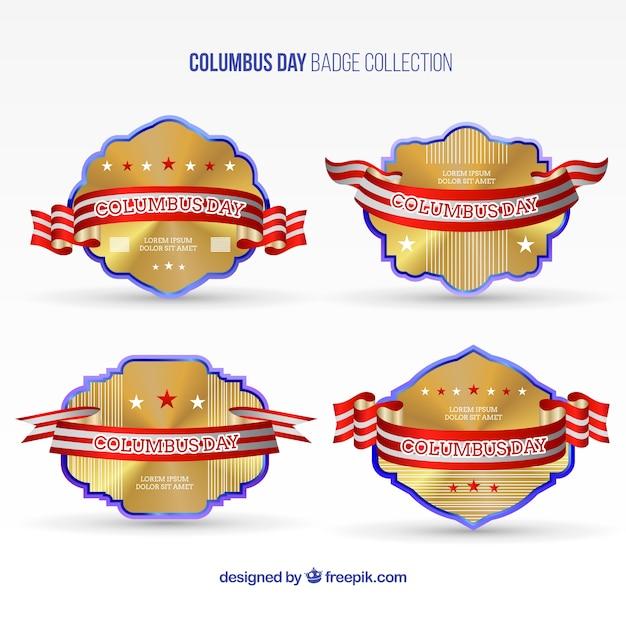 Columbus dag gouden badges te pakken Gratis Vector