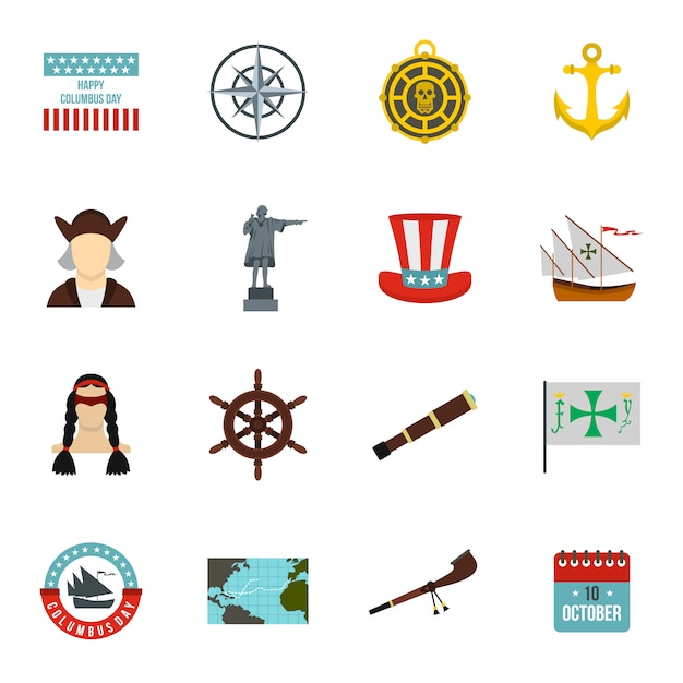 Columbus day-pictogrammen plaatsen Premium Vector