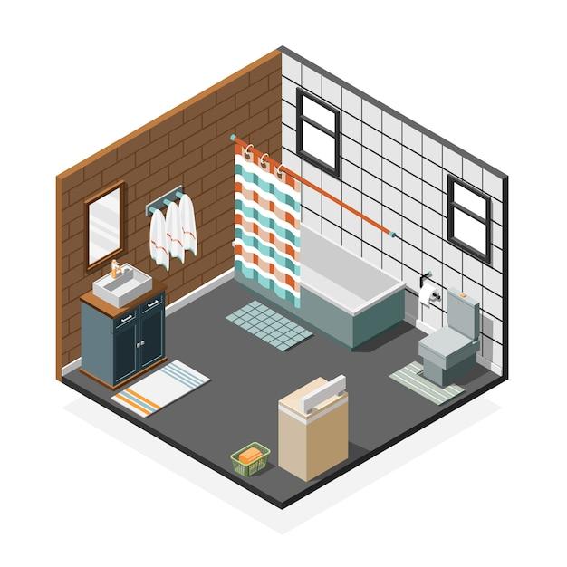 Combinatie badkamer isometrische interieur Gratis Vector