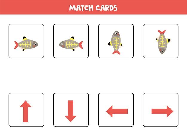 Combineer afbeeldingen met oriëntatiepijlen. cartoon x ray vis. links of rechts, omhoog of omlaag. Premium Vector