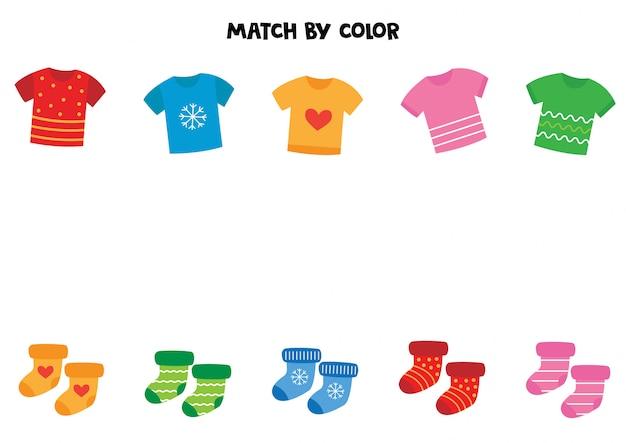 Combineer t-shirts en sokken op kleur. Premium Vector