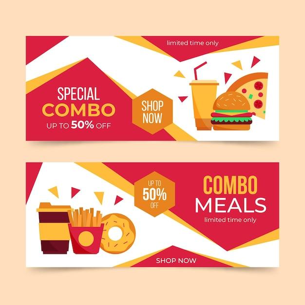 Combo-aanbiedingen - banners met korting Premium Vector