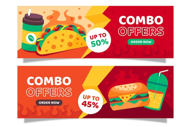 Combo-aanbiedingen - banners Premium Vector