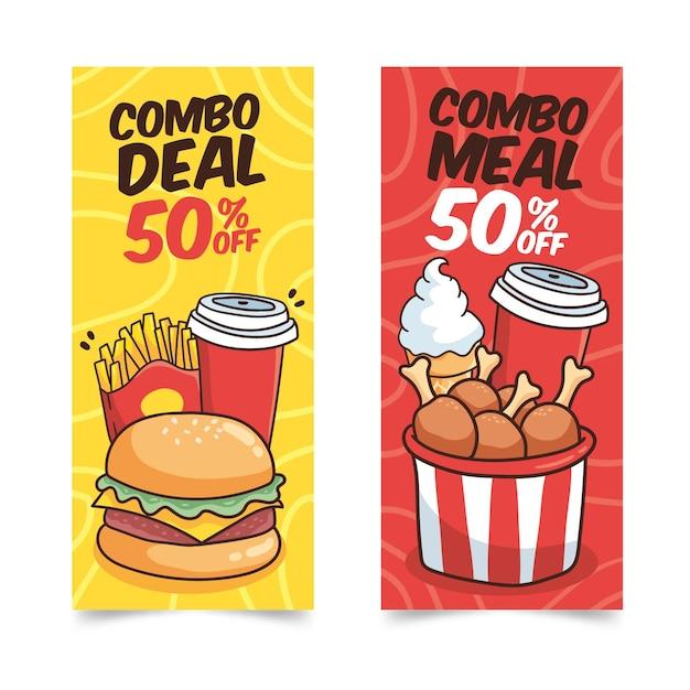 Combo maaltijden banners sjabloon Gratis Vector