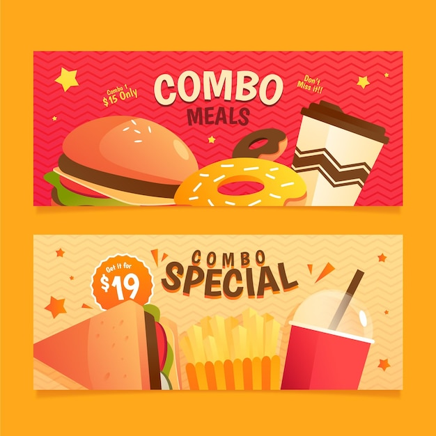 Combo-maaltijden fastfood-banners instellen Gratis Vector
