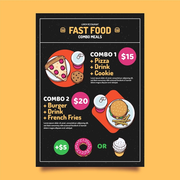 Combo maaltijden poster concept Gratis Vector