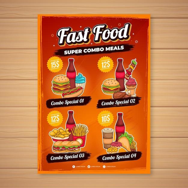 Combo-maaltijden - poster Gratis Vector