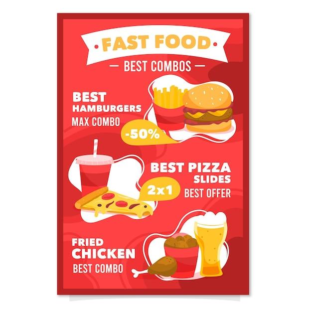 Combo maaltijden poster Gratis Vector