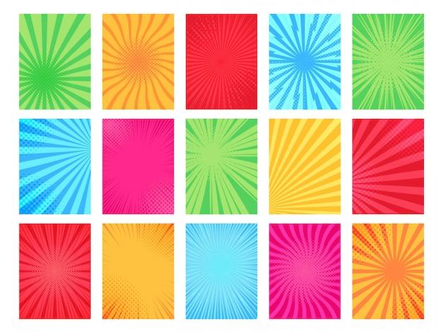 Comic book achtergrond. cartoon boeken paginasjabloon, grafische kunst frame en textuur komische poster achtergrond illustratie set. popart halftone heldere veelkleurige achtergronden collectie Premium Vector