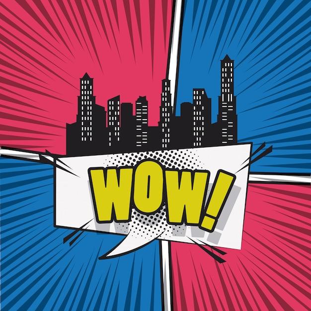 Comic book city met speech cartoon Premium Vector