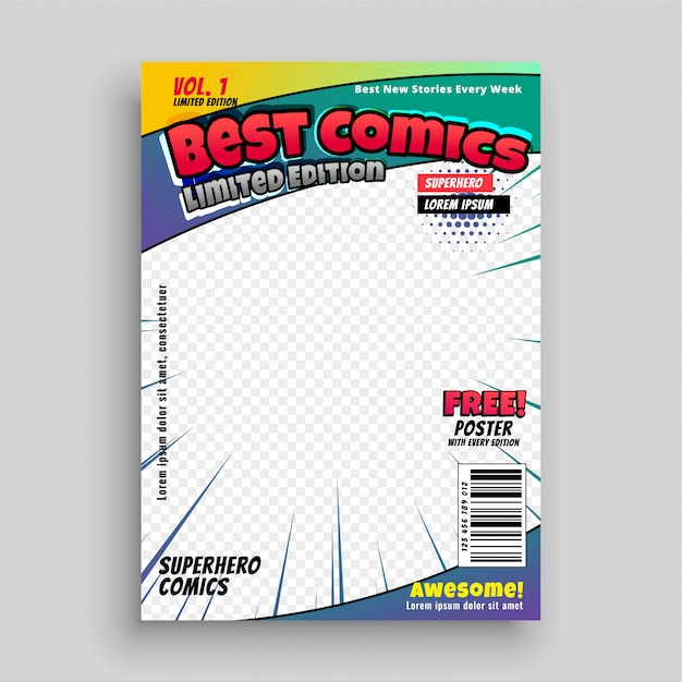 Comic book cover magazine voorpagina lay-out Gratis Vector