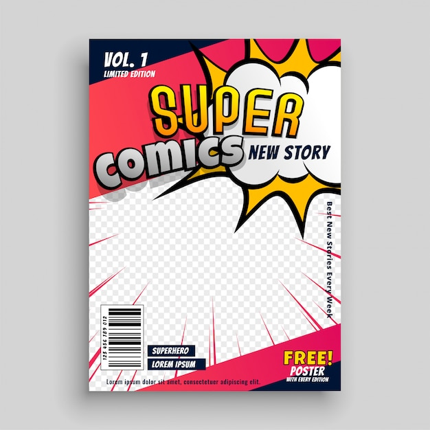 Comic book cover ontwerpsjabloon Gratis Vector