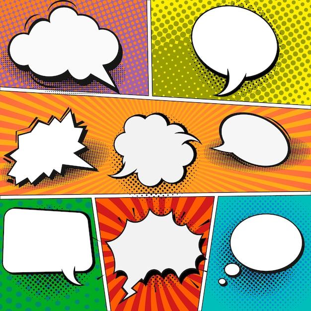 Comic book paginasjabloon in pop-art stijl. kleurrijke achtergrond met tekstballonnen. Premium Vector