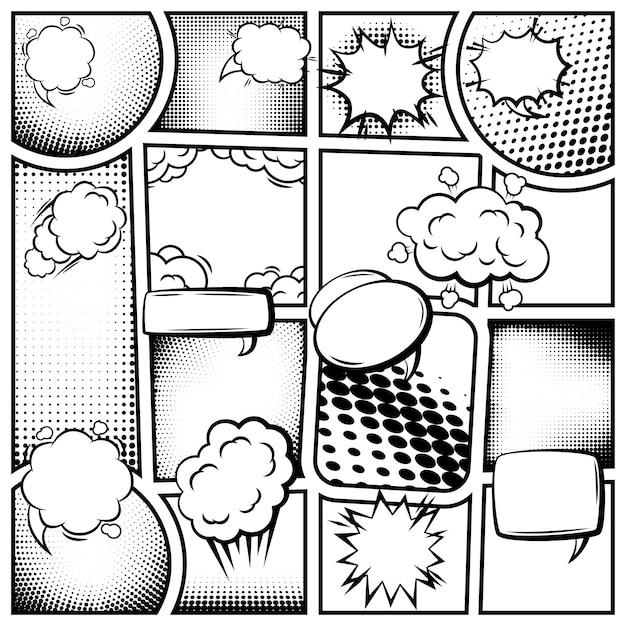 Comic book paginasjabloon Gratis Vector