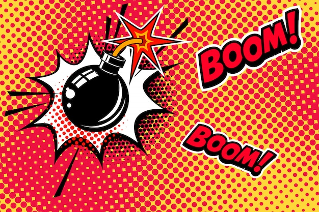 Comic book stijl achtergrond met bomexplosie. element voor spandoek, poster, flyer. beeld Premium Vector