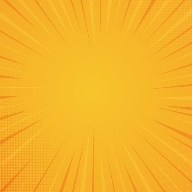 Comic book-stijlachtergrond, halftone druktextuur. vectorillustratie op oranje achtergrond Premium Vector