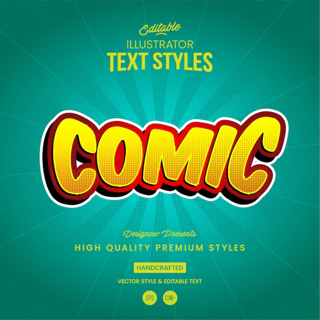 Comic book-tekststijl Premium Vector