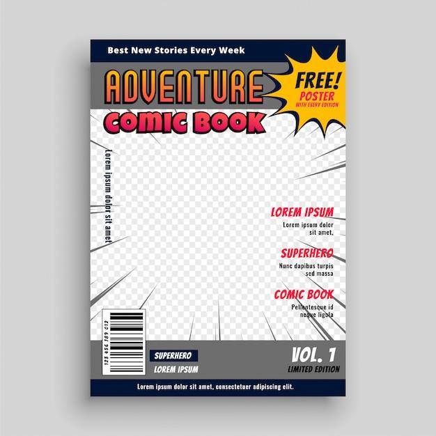 Comic book tijdschrift voorbladsjabloon Gratis Vector
