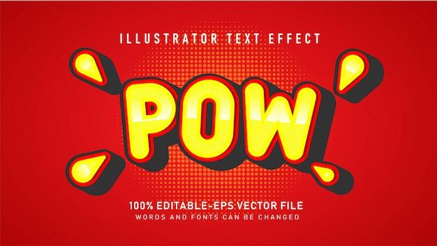 Comic bubble pow-tekststijleffect Gratis Vector