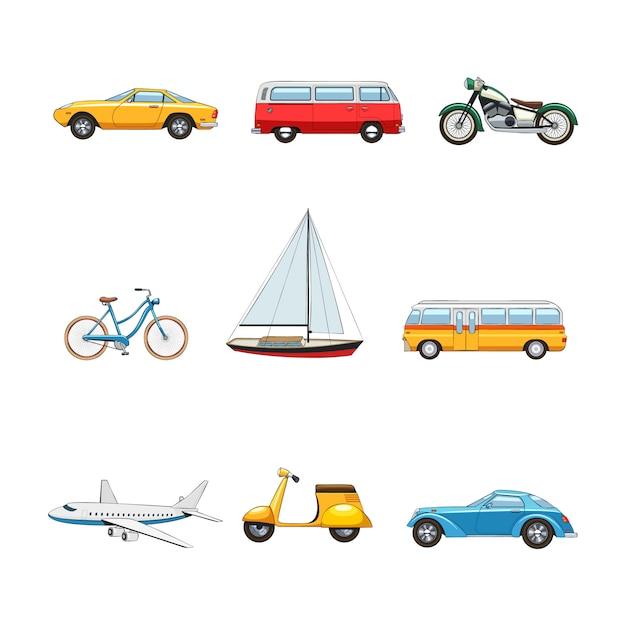 Comic flat transport afbeeldingen set van auto's van motorfiets fiets jacht bus vliegtuig scooter geïsoleerde v Gratis Vector