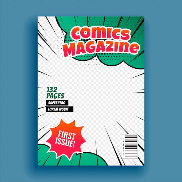 Comic magazine boek voorbladsjabloon Gratis Vector