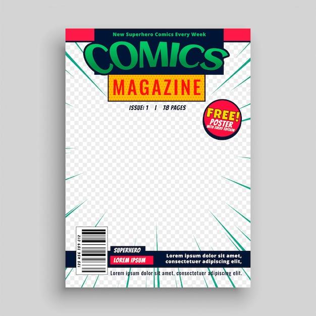 Comic magazine boek voorpagina sjabloon Gratis Vector