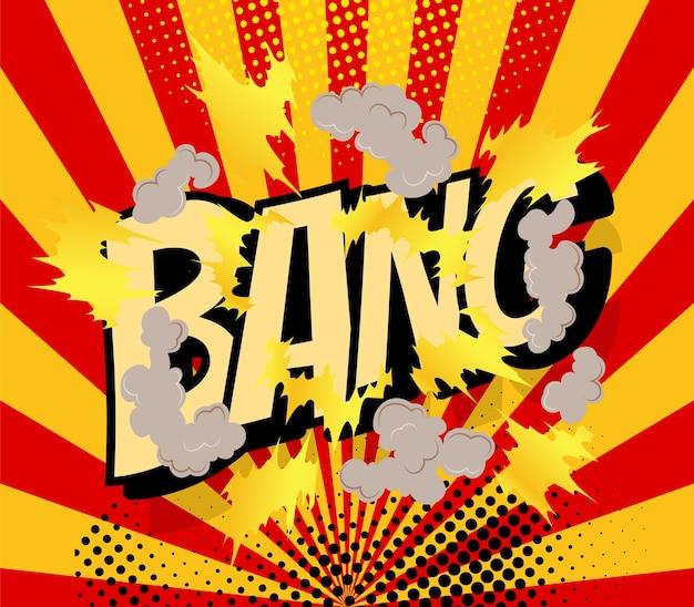 Comic poster met cartoon explosie frame. Premium Vector