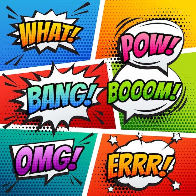 Comic sound effect speech bubble pop art in vector cartoon stijl Gratis Vector