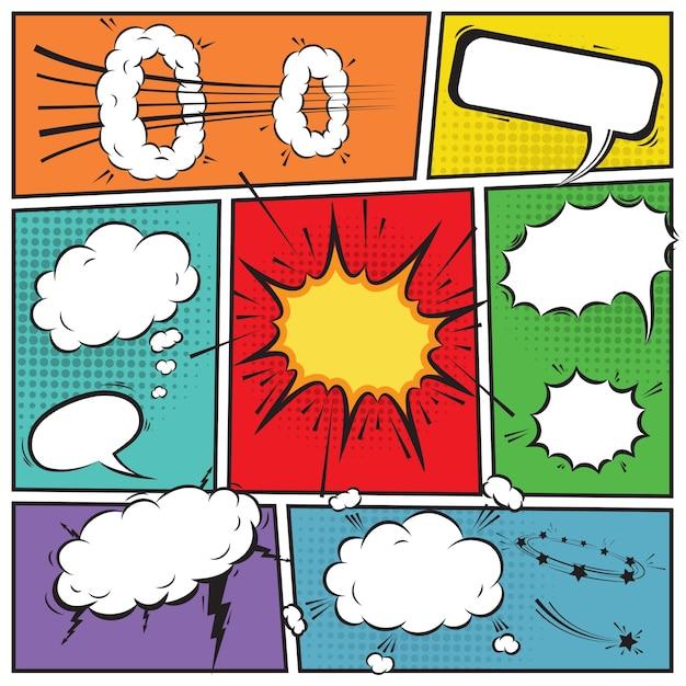 Comic speech bubbles en stripverhaal achtergrond vector illustratie Gratis Vector
