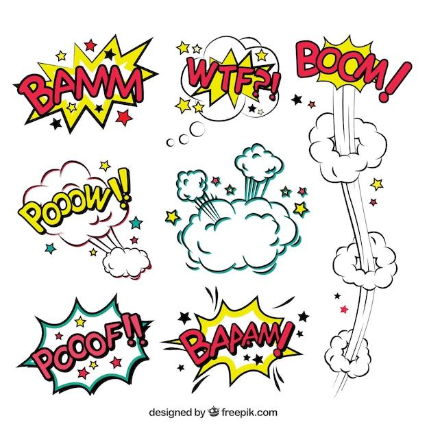 Comic tekstballonnen van explosies Gratis Vector