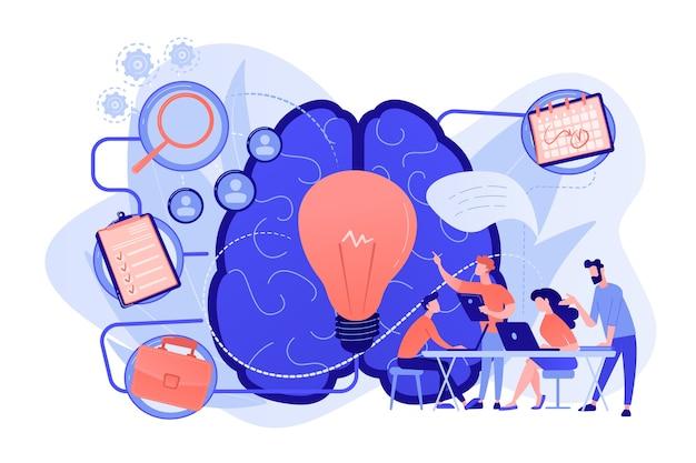 Commercieel team dat aan project werkt. projectmanagement, bedrijfsanalyse en planning, brainstormen en onderzoek, advies en motivatieconcept. vector geïsoleerde illustratie. Gratis Vector
