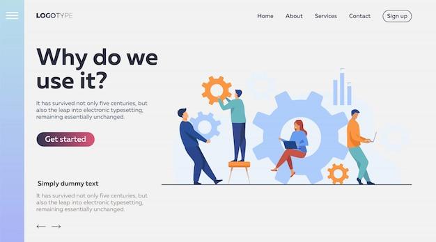 Commercieel team dat aan tandradmechanisme samenwerkt Gratis Vector