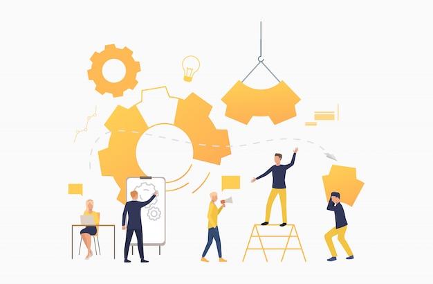 Commercieel team dat als mechanisme werkt Gratis Vector