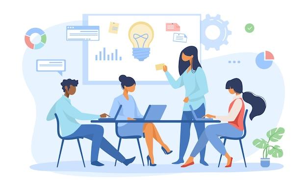 Commercieel team dat ideeën voor opstarten bespreekt Gratis Vector
