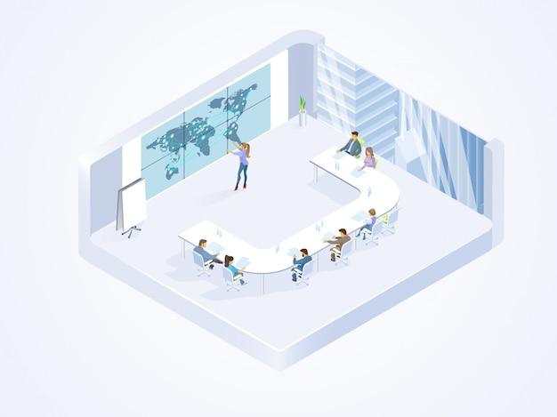 Commercieel team dat in bureau isometrische vector werkt Premium Vector