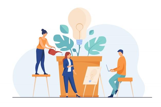 Commercieel team dat nieuwe ideeën bespreekt Gratis Vector