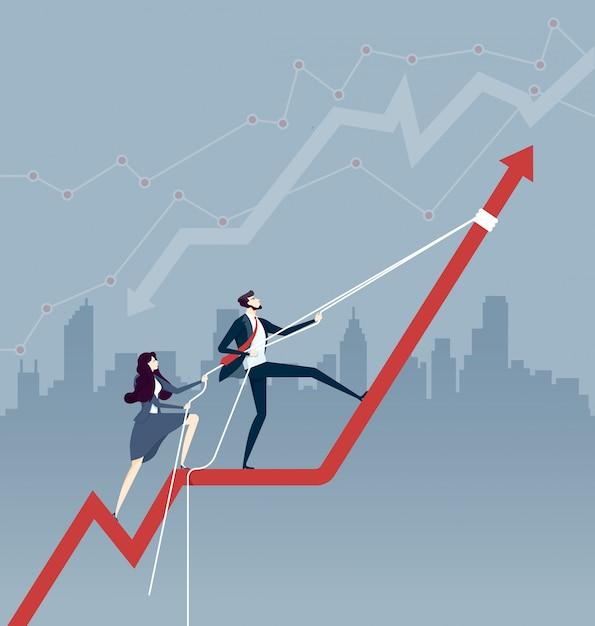 Commercieel team die de grafiek van de pijlgrafiek omhoog met een kabel trekken. bedrijfsconcept Premium Vector