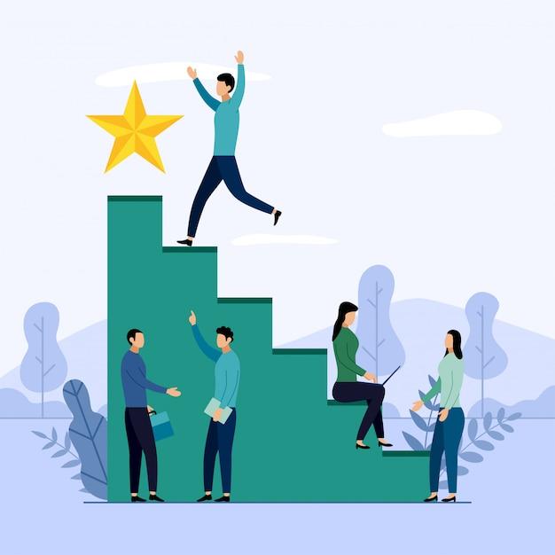 Commercieel team en concurrentie, succesvolle prestatie, uitdaging, bedrijfsillustratie Premium Vector