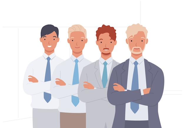 Commercieel team. groep zakenman, teamwork. Premium Vector