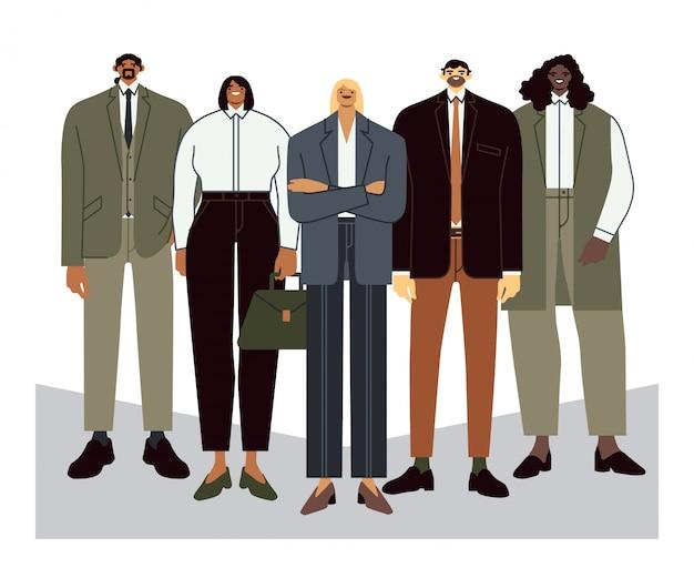 Commercieel team. teamleider met werknemers, kantoorpersoneelsportret en professionele kantoormensen groeperen vlakke afbeelding. ondergeschiktheid, teamwork, samenwerkingsconcept. stevig personeel Premium Vector