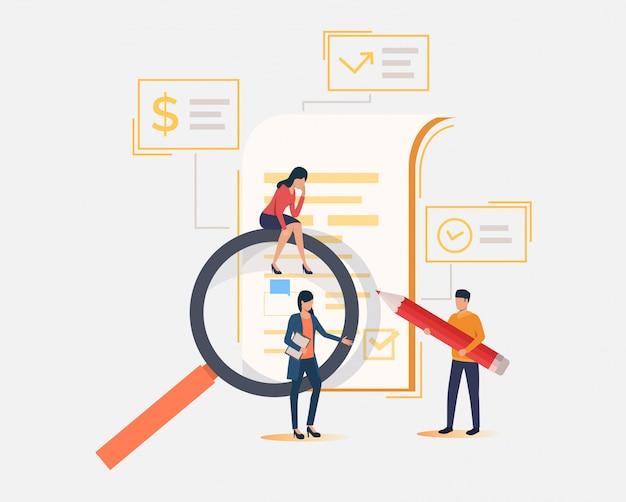 Commercieel team, vergrootglas, document Gratis Vector