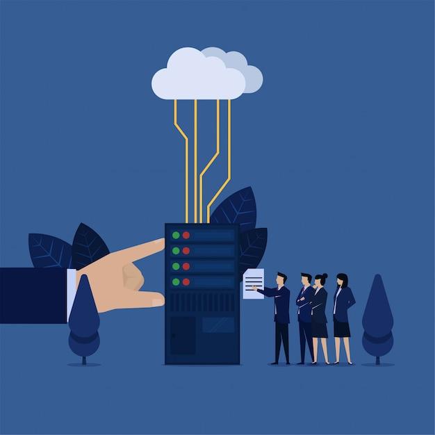 Commercieel team zet bestand op datacenter verbonden met cloudmetafoor van cloudopslag. Premium Vector