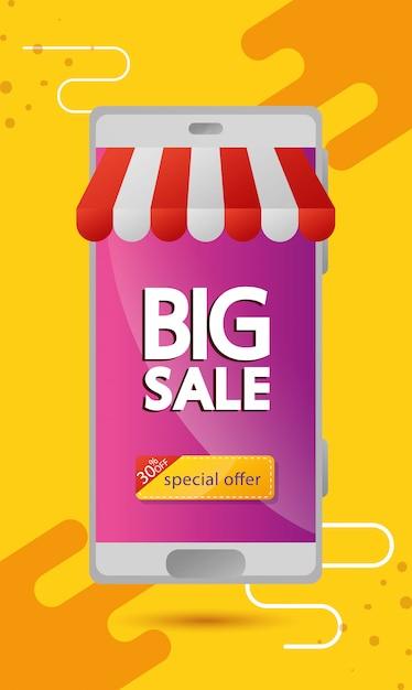 Commerciële banner met grote verkoop belettering in smartphone en dertig procent korting Gratis Vector