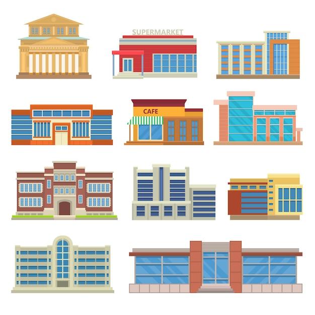 Commerciële gebouwen architectuur platte vector. Premium Vector