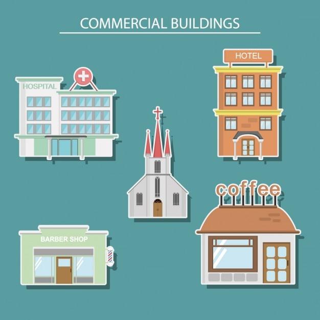 Commerciële gebouwen ontwerp Gratis Vector