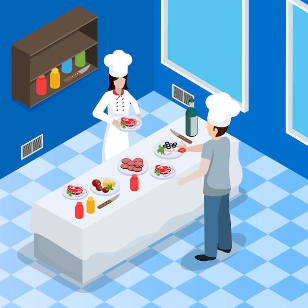 Commerciële keuken interieur isometrische samenstelling Gratis Vector