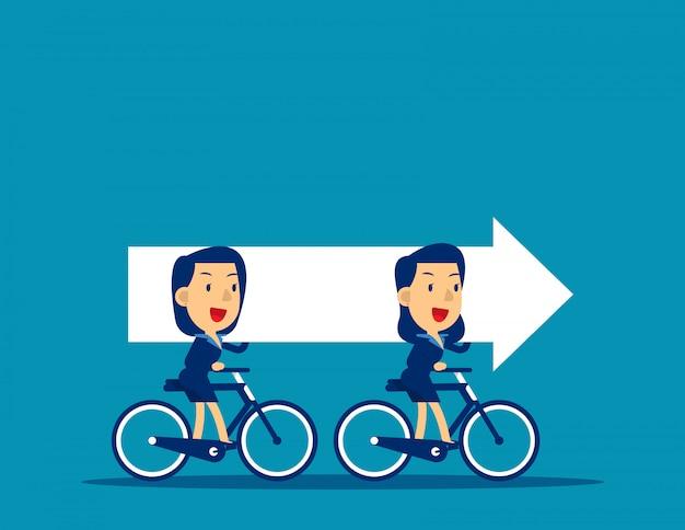 Commerciële team berijdende fietsen en dragende pijl Premium Vector
